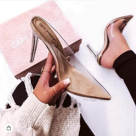 b45e578c9d5d 💖💖Cape Robbin Cinderella Clear Heels Nude💖💖💖